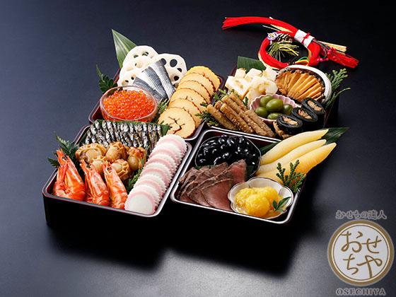 お重箱に詰めたおせち料理の画像は黒背景で高級感を演出!